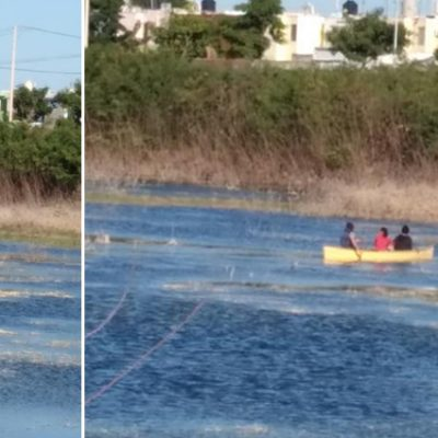 """En canoa se pasean por el """"Malecón de Pensiones"""""""