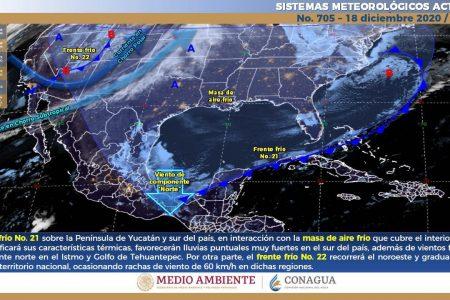 Frente frío 21 va de salida de la Península de Yucatán