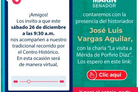 De manera virtual, recorrido de fin de año del senador Ramírez Marín por el centro de Mérida