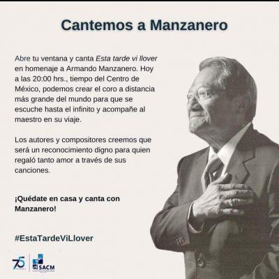 Invitan a homenajear a Armando Manzanero con la canción 'Esta tarde vi llover'