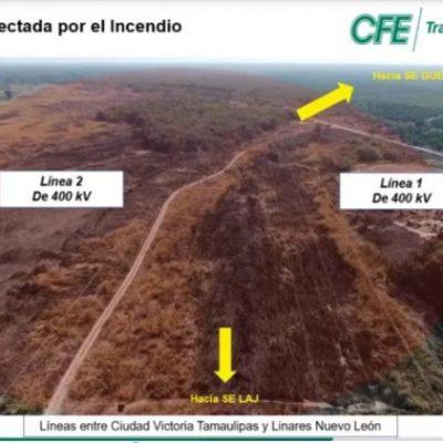 Incendio de pastizales, la causa del apagón de Santos Inocentes: CFE