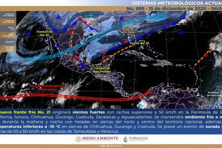 Frente frío se mantiene estacionario y se disipará sin llegar a Yucatán