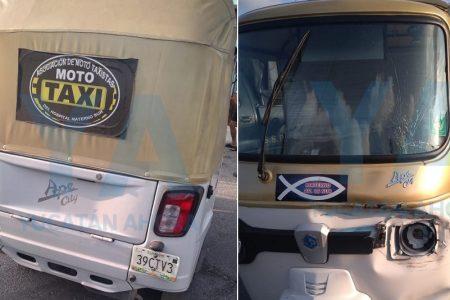 Mototaxi hace morder el polvo a dos motociclistas, en San Antonio Xluch I