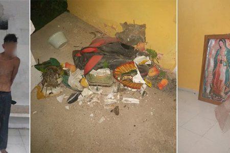 Detienen a sujeto que quemó y destrozó imágenes de una capilla en Celestún
