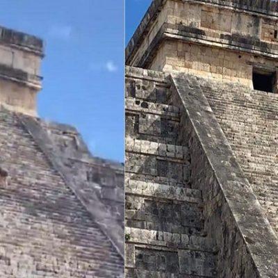 Turista subió al castillo de Chichén Itzá para esparcir las cenizas de su esposo