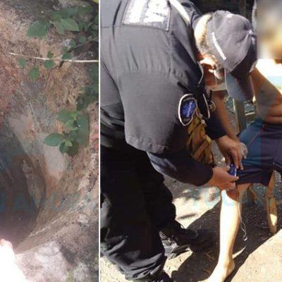 Menor sale ileso tras caer a un pozo con agua de 15 metros de profundidad