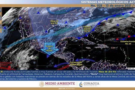 Se debilita el frente frío 26, pero seguirá propiciando lluvias en Yucatán