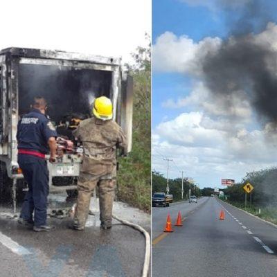 Queso fundido en carretera: se quema camioneta de una empresa láctea