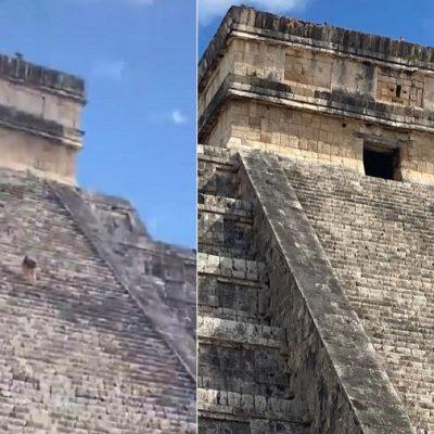 Una turista sube a lo más alto del Castillo de Chichén Itzá a 'llenarse de energía'