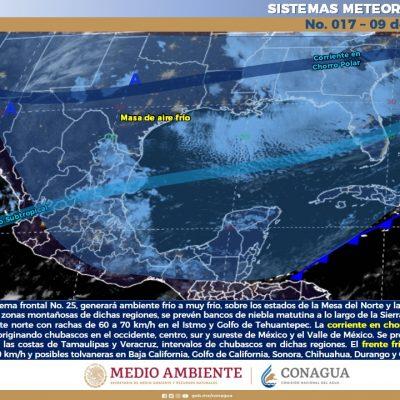 Sobre Yucatán masa de aire frío y la próxima semana habrá nuevo norte