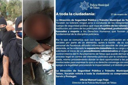 Cesan a policía de Tekax por publicar en Facebook fotos 'sensibles' de un detenido