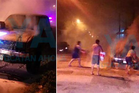 Por viejas rencillas, le queman su camioneta en la colonia Mayapán