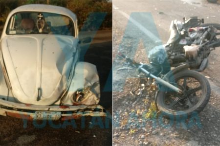 Fuerte choque entre auto y moto deja dos heridos en Chablekal