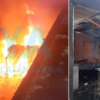 Por una veladora, se incendia local en Kanasín y deja pérdida de 500 mil pesos