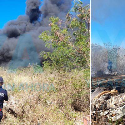 Intenso incendio en el Periférico fue por basura y maleza