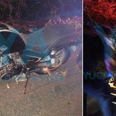 Por manejar ebrio, motociclista derrapa y se fractura una pierna