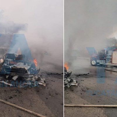 Camión de Servilimpia arde en llamas en el Periférico
