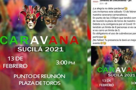 Pese a Covid-19, convocan a festividad presencial carnavalesca en Sucilá