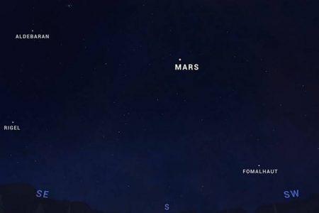 Otro regalo del espacio sideral: mañana alineación Marte-Luna-Aldebarán