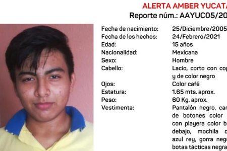 Emiten Alerta Amber por quinceañero que huyó de su casa en Kanasín