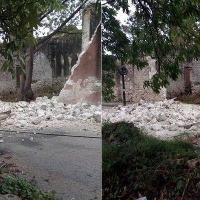 Frente frío 36 termina de derribar la barda de la Hacienda Chenkú