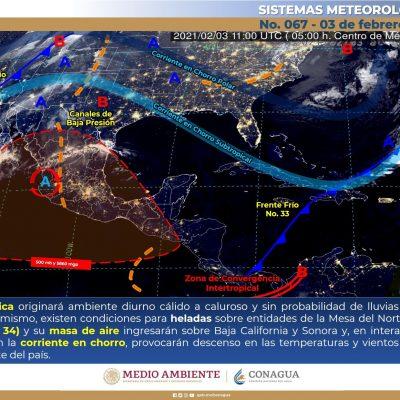 Golpea fuerte la heladez de febrero: el sur de Yucatán amanece a 5 grados y Mérida a 8.8