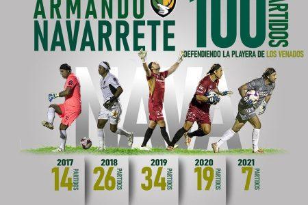 Armando Navarrete cumple 100 partidos con Venados y suma 332 minutos sin permitir gol
