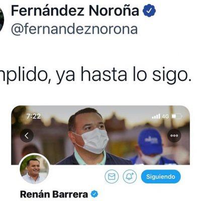 'Cumplido, ya hasta lo sigo', responde Fernández Noroña al alcalde de Mérida, Renán Barrera