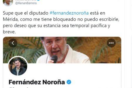 Alcalde Renán Barrera le pide a Fernández Noroña que se porte bien en Mérida