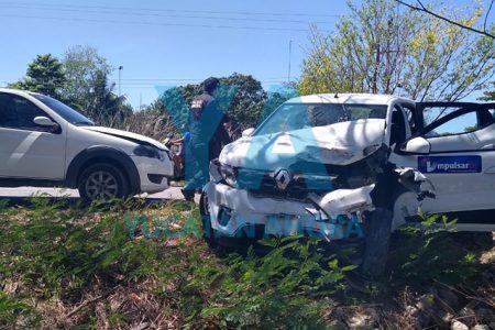 Choque de tres vehículos deja cuatro heridos en la Umán-Kinchil