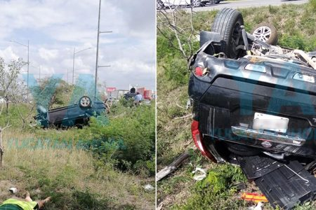 Falla su camioneta y sufre aparatosa volcadura