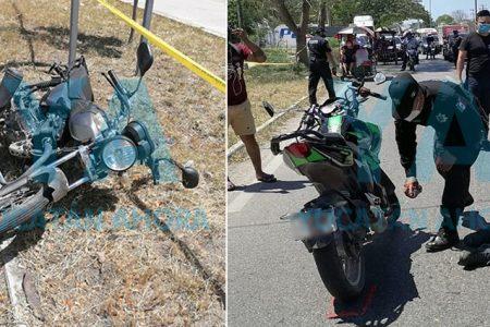Choque de jóvenes motociclistas deja un lesionado en la Umán-Mérida