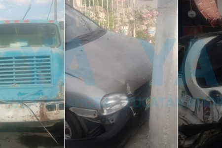 Camión choca dos autos estacionados en Cholul