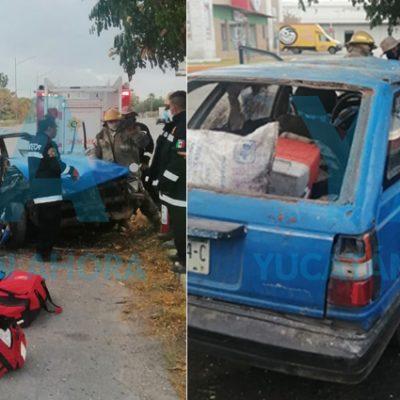 Falla su Datsun y sufren fuerte choque: un menor hospitalizado