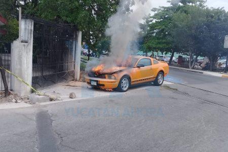 Se incendia el Mustang de un ex funcionario estatal, en la avenida Hidalgo