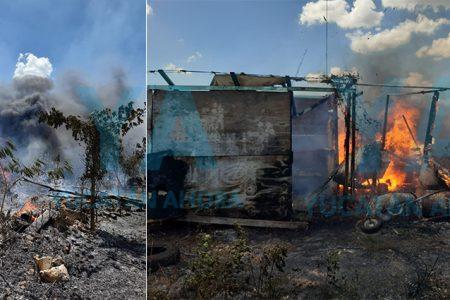 Se registra fuerte incendio en privada residencial de Temozón Norte