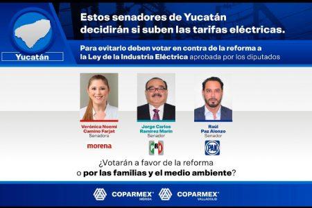 Coparmex pide a senadores yucatecos votar en contra de la Reforma Eléctrica