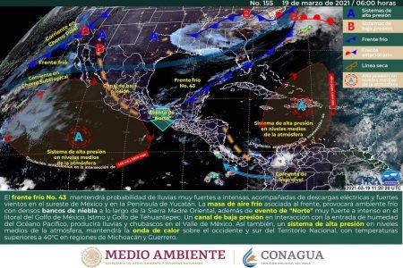 El frente frío 43 recorre la Península de Yucatán: deja nublados y lluvias