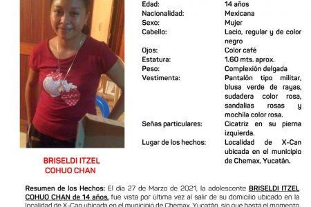 Emiten Alerta Amber por la adolescente Briseldi Itzel Cohuó Chan, desaparecida en Xcan, Chemax