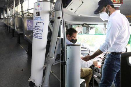 Autobuses urbanos de Mérida ya cuentan con dispensadores de gel antibacterial