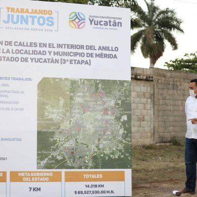 Mauricio Vila y el alcalde Renán Barrera unen esfuerzos para la construcción de calles en Mérida