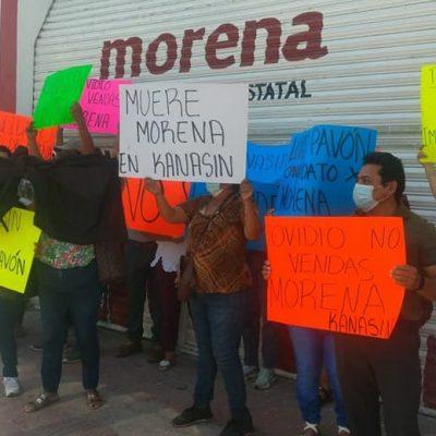Morenistas de Kanasín se manifiestan contra imposición de Carlos Moreno como candidato a alcalde