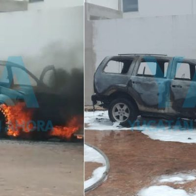 Incendio acaba con su camioneta