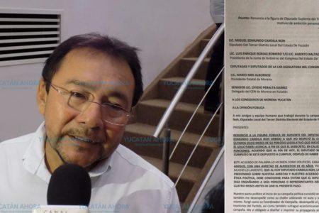 Ante la ambición personal del diputado Candila Noh, renuncia su suplente