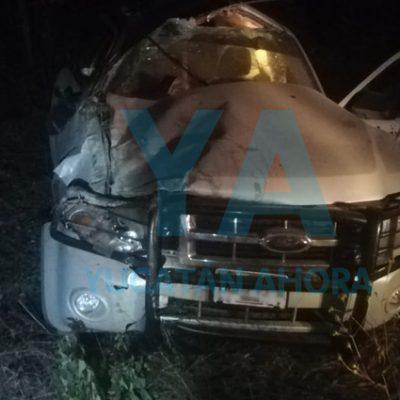 Sufren fuerte accidente en la Timucuy-Subincancab: tres hospitalizados