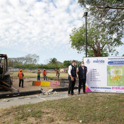 Construyen y rehabilitan parques en el sur de Mérida, con inversión de 10 millones de pesos