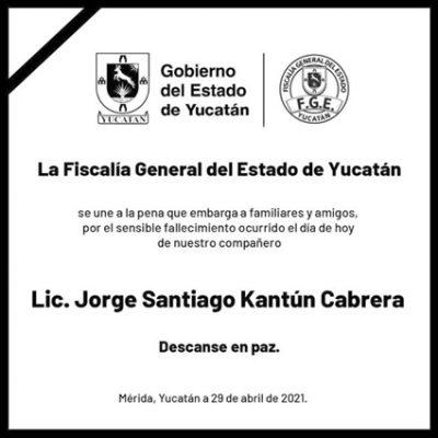 Fallece Jorge Kantún Cabrera, químico de la Fiscalía General del Estado de Yucatán