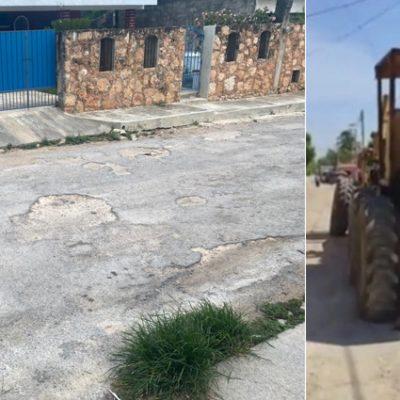 Tras presión social, reparan calle abandonada en Muna