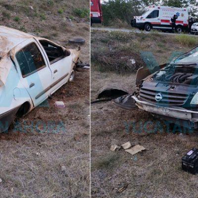 Joven y su esposa embarazada sufren aparatoso accidente en el Periférico