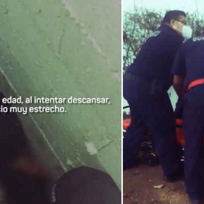 Rescatan a un hombre que quedó atrapado entre dos muros y una malla ciclónica